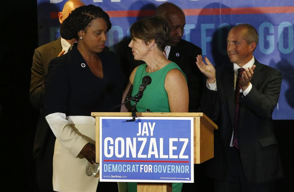 Maura Healey and Ayanna Pressley at a post-primary unity event hosted by The Massachusetts Democratic Party.